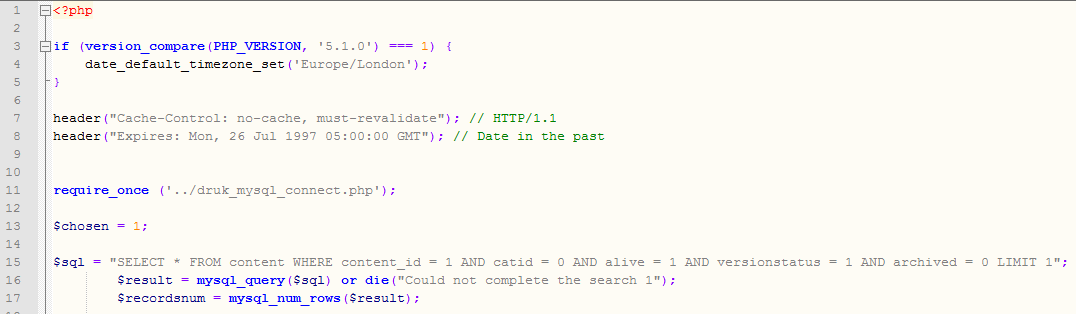could not complete the search - the php code that led to this error message