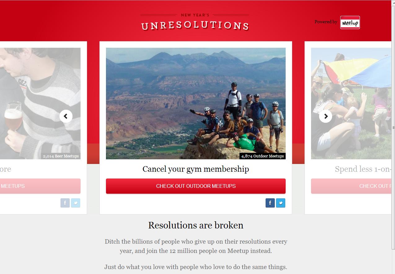 meetup unresolutions landing page