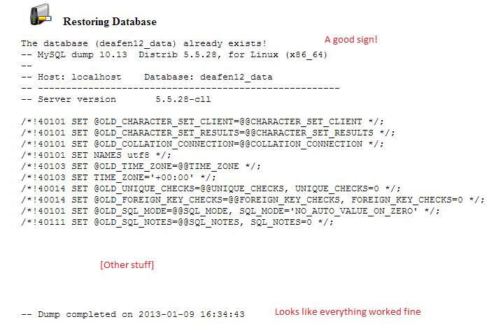restoring database