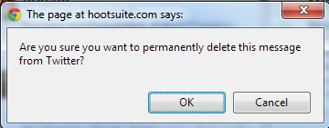 the confirm / reject delete tweet popup in hootsuite