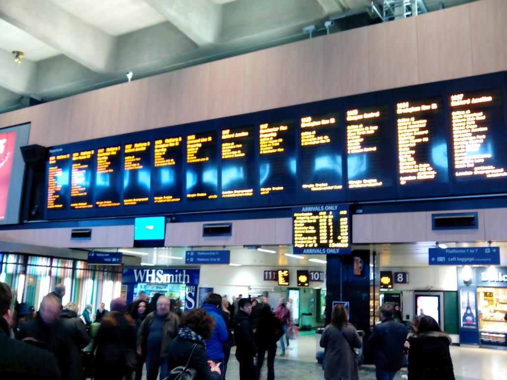 departure boards at euston station