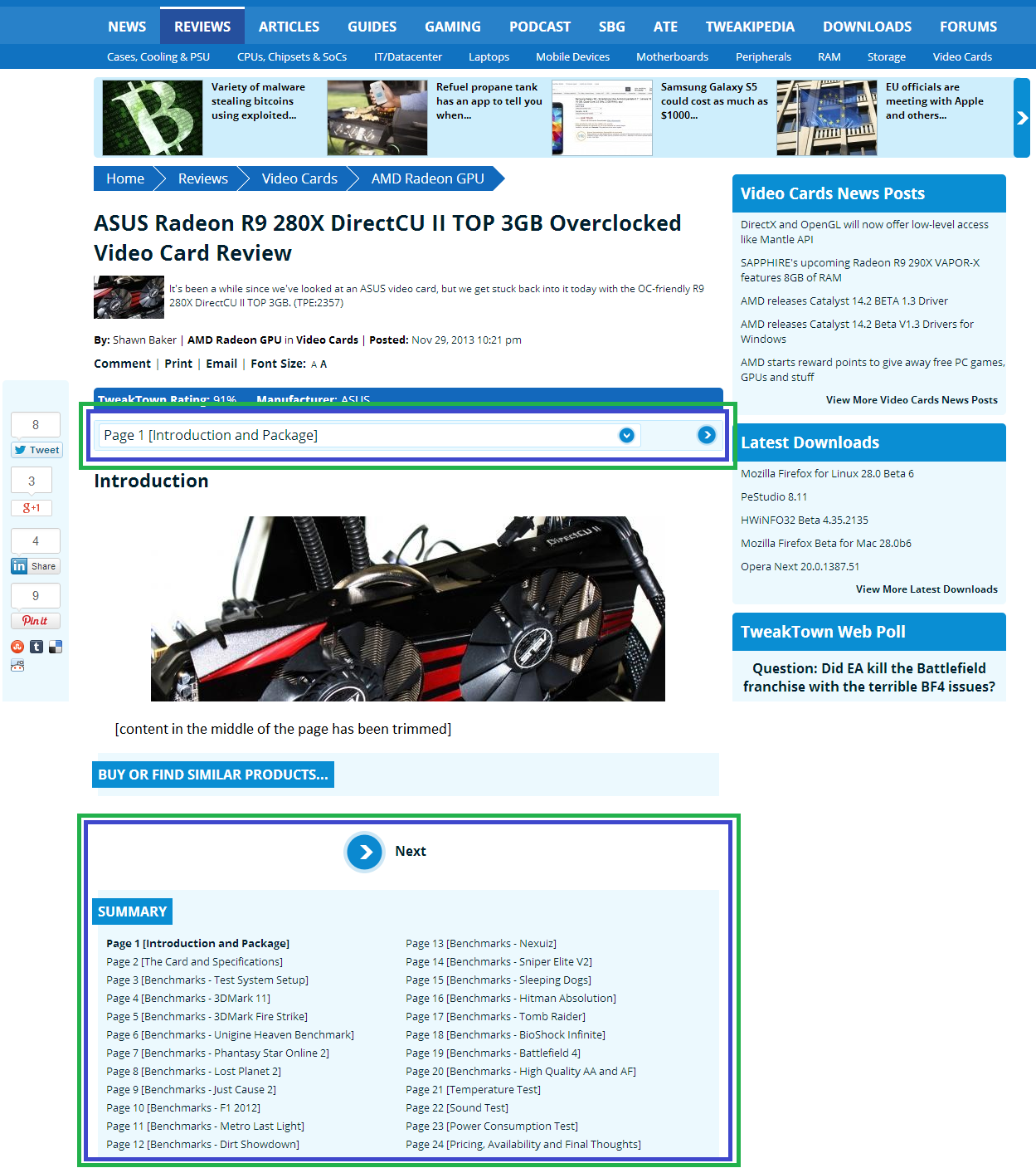 screenshot of a multi-section article on Tweak Town, with navigation highlighted