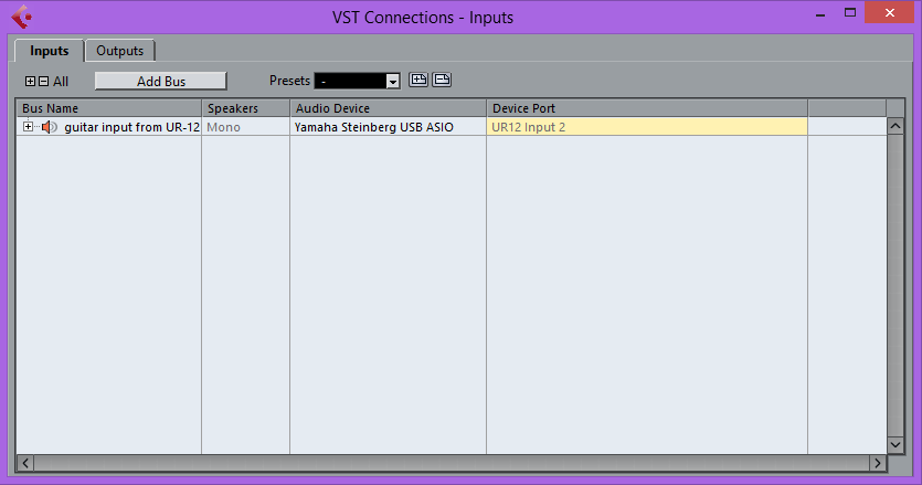 Cubase AI VST Connections controls - Input tab