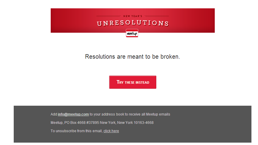 meetup unresolutions email content