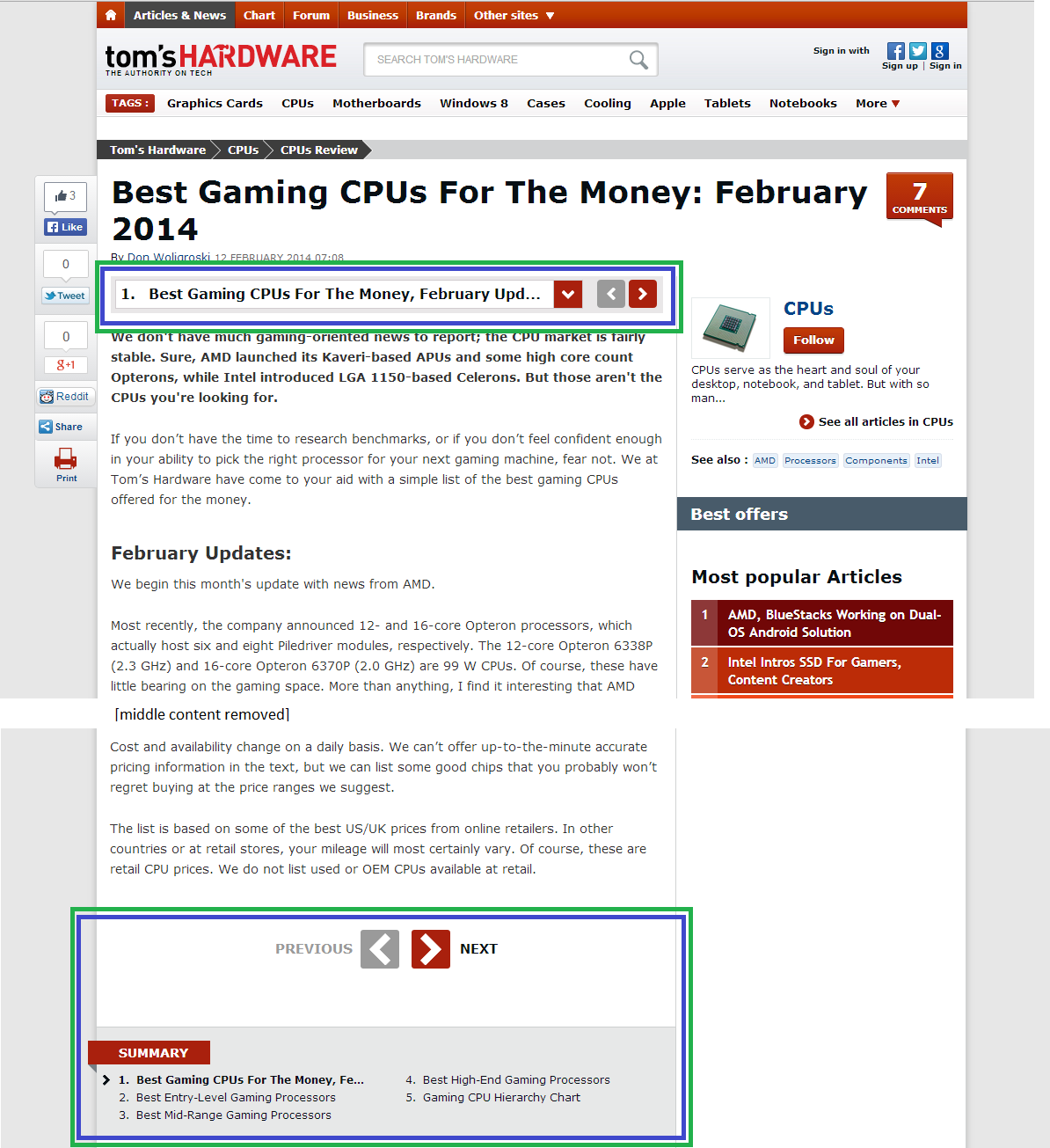 a screenshot showing a multi-section article on tom's hardware, with navigation elements highlighted