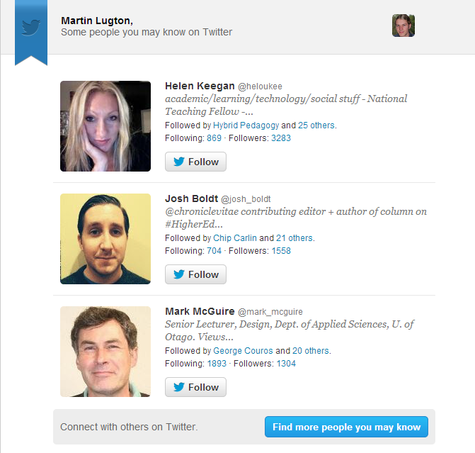 a screenshot of an automated email from twitter suggesting some accounts I might want to follow