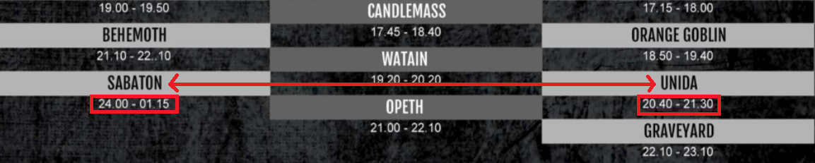 sabaton and unida timing old graspop 2014 running order