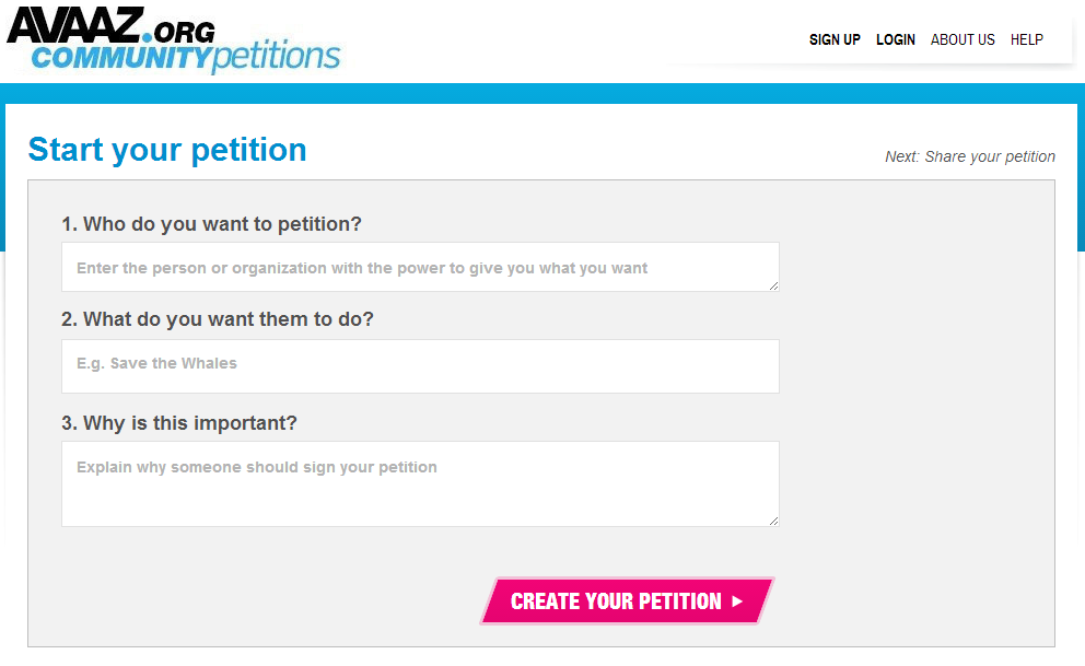 avaaz community petition - landing page form
