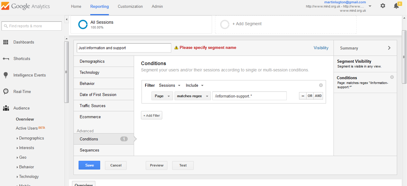 regular expression example for a site section segment in google analytics