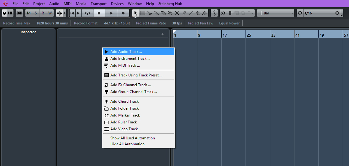 menu for adding new tracks in Cubase AI