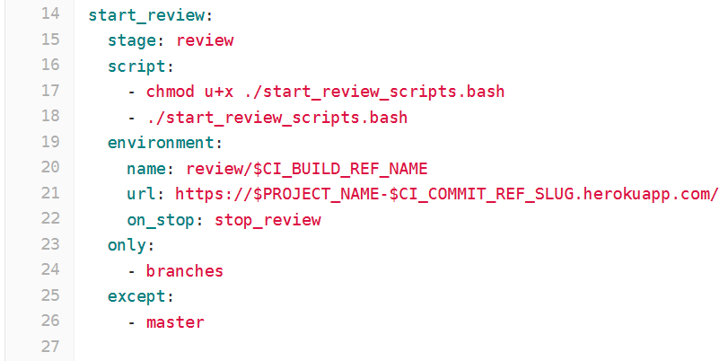 YAML section on creating a review app in heroku via its API
