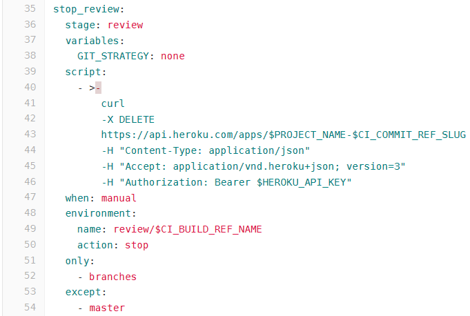 code snippet to stop review app. Use the hyperlink to access the full snippet
